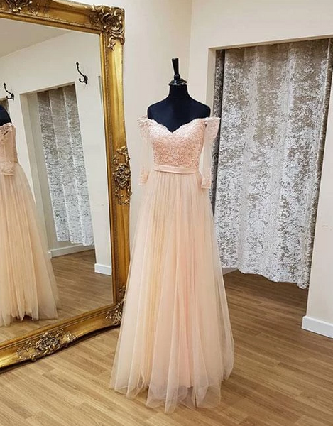 Blush Pink Off Shoulder Long Sleeve Prom Dresses Lace Evening Dresses,AP155