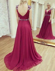 V Neck Sleeveless Backless Prom Dresses Chiffon Evening Dresses,AP156