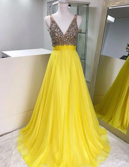 Yellow V Neck Sleeveless Beaded Prom Dresses Chiffon Evening Dresses,AP157