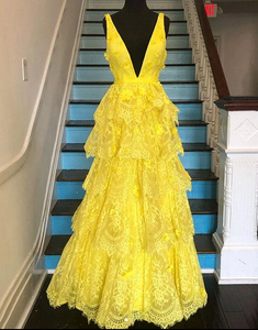 Yellow V Neck Sleeveless Lace Applique Prom Dresses Long Evening Dresses,AP159