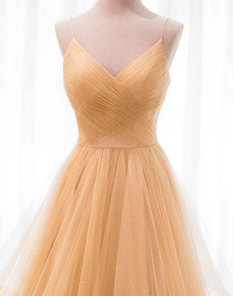Simple V Neck Sleeveless Prom Dresses A Line Tulle Evening Dresses,AP161