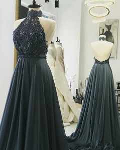 Grey Halter Lace Beaded Long Prom Dresses Backless Evening Dresses,AP162