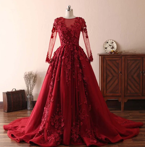 Red Round Neck Long Sleeve Applique Prom Dresses Long Evening Dresses,AP165