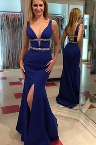 Blue V Neck Sleeveless Backless Split Mermaid Prom Dresses With Beaded,AP173