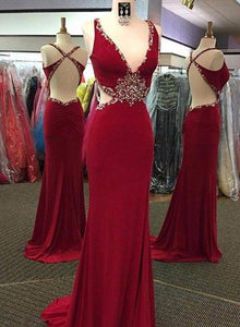 Sexy Red V Neck Sleeveless Backless Prom Dresses Long Evening Dresses,AP175