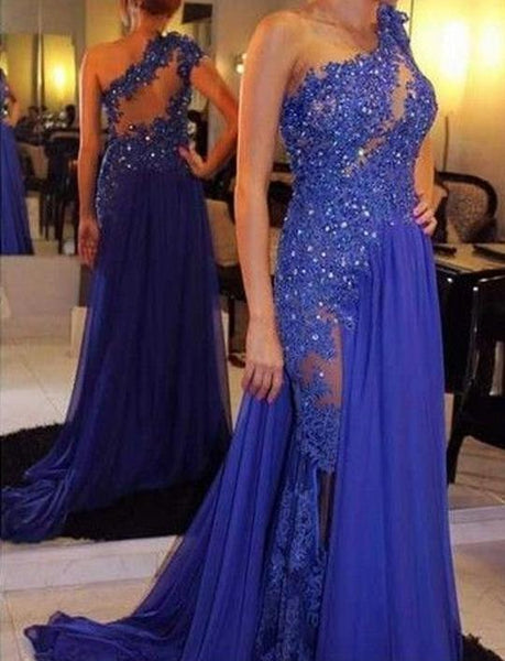 Blue One Shoulder Sleeveless Prom Dresses Lace Beaded Evening Dresses,AP178