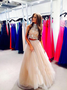 Two Piece High Neck Sleeveless Backless Prom Dresses With Beaded,AP181