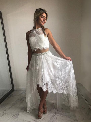 White Two Piece Halter Sleeveless Lace Beaded High Low Prom Dresses,AP184