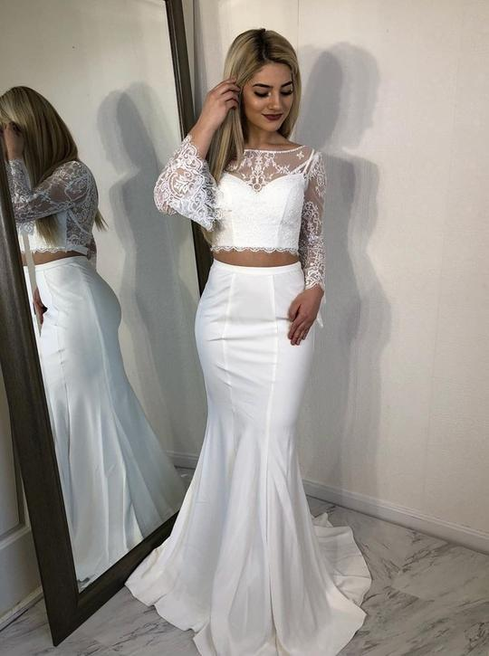 White Two Piece Long Sleeve Lace Prom Dresses Mermaid Evening Dresses,AP192