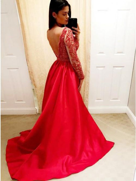 Red V Neck Long Sleeve Beaded Prom Dresses A Line Evening Dresses,AP198