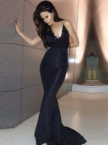 Sexy Black V Neck Backless Mermaid Prom Dresses Sleeveless Evening Dresses,AP209