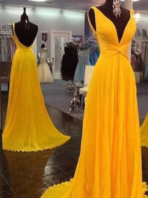 Yellow V Neck Sleeveless Backless Prom Dresses Chiffon Evening Dresses,AP210