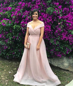Pink Off Shoulder Sleeveless A Line Prom Dresses Long Graduation Dresses,AP214