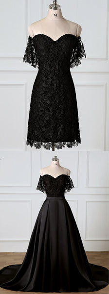 Black Sweetheart Off Shoulder Lace Prom Dresses With Removable Skirt,AP217