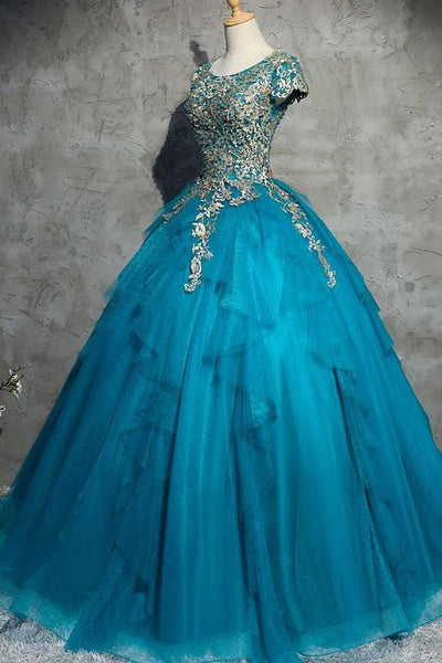 Scoop Neck Short Sleeve Tulle Prom Dresses Lace Applique Ball Gown,AP224