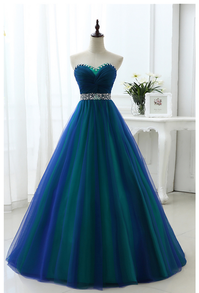 Unique Sweetheart Sleeveless Tulle Prom Dresses Crystal Evening Dresses,AP225