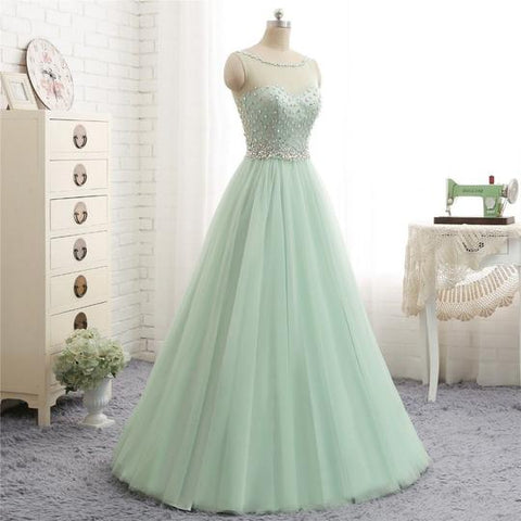 Mint Green Round Neck Sleeveless Backless Prom Dresses Crystal Evening Dresses,AP226