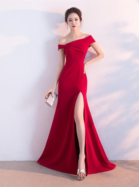 Unique Red Off Shoulder Sleeveless Prom Dresses Side Slit Evening Dresses,AP228
