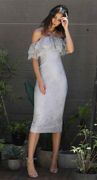 Grey Off Shoulder Sleeveless Prom Dresses Lace Applique Evening Dresses,AP232