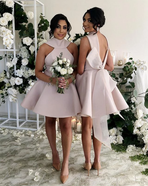 Pink Sleeveless Halter Backless A Line Short Bridesmaid Dresses,AP244