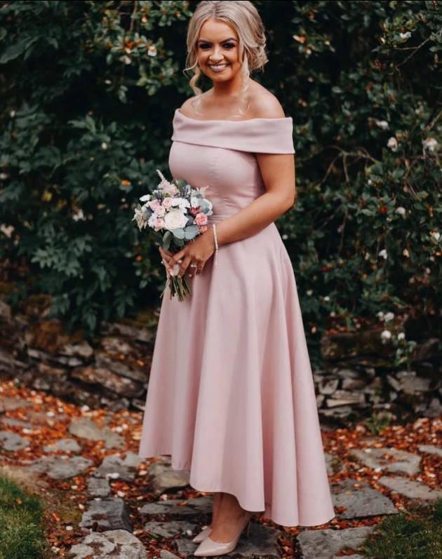 Pink Off Shoulder Sleeveless A Line High Low Satin Bridesmaid Dresses,AP245