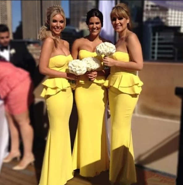 Yellow Strapless Sleeveless Ruched Satin Long Bridesmaid Dresses,AP250