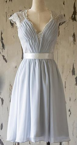 Cap Sleeve V Neck A Line Chiffon Short Bridesmaid Dresses With Lace,AP273