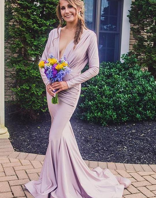 Elegant V Neck Long Sleeve Backless Mermaid Bridesmaid Dresses,AP290