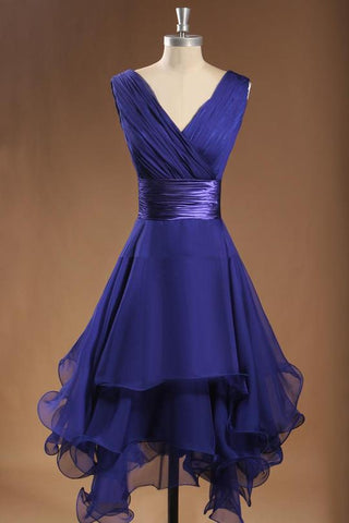 Simple V Neck Sleeveless Tiered Ruffles Chiffon Short Bridesmaid Dress,AP297