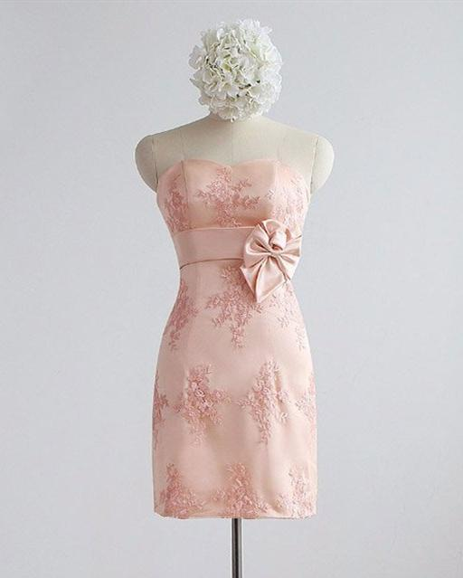 Pink Sweetheart Sleeveless Lace Applique Short Bridesmaid Dresses,AP309