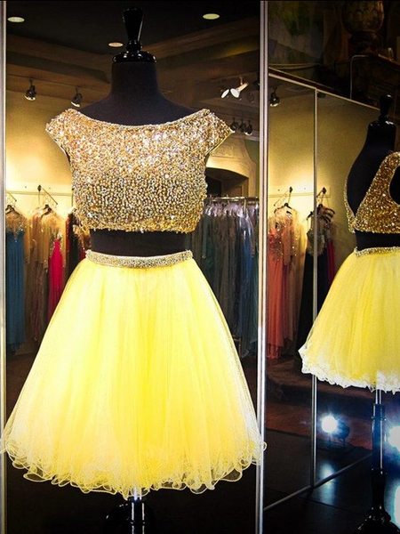 Yellow Two Piece Cap Sleeve Homecoming Dresses Beaded Cocktail Dresses,AP320