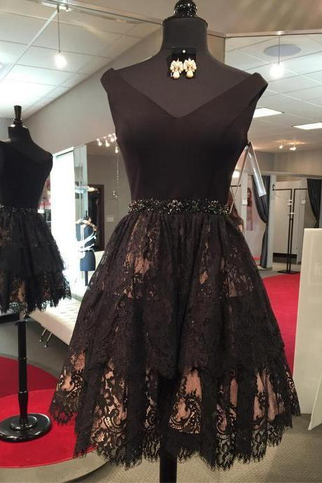 Black Sleeveless Short Homecoming Dresses Lace Appliques Cocktail Dresses,AP326