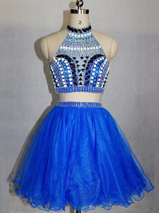 Blue Two Pieces High Neck Beaded Homecoming Dresses Short Cocktail Dresses,AP327