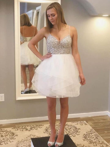 Spaghetti Strap Backless Homecoming Dresses,Beaded Cocktail Dresses,AP365