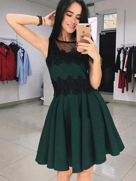 Scoop Neck Lace Appliques Homecoming Dresses,Sleeveless Cocktail Dress,AP368