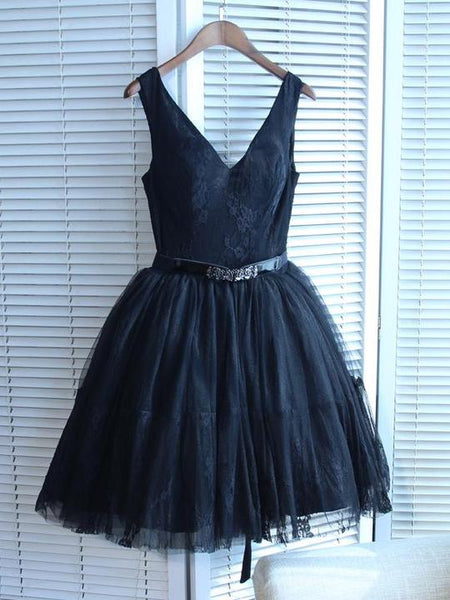 Navy Blue V Neck Sleeveless A Line Lace Short Homecoming Dresses,AP381