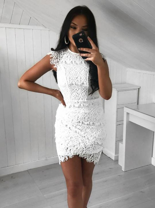 White Sleeveless Lace Homecoming Dresses,Short Cocktail Dresses,AP385