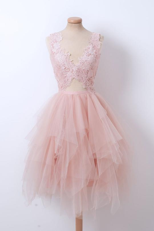 Pink V Neck A Line Homecoming Dresses Sleeveless Lace Prom Dresses,AP440