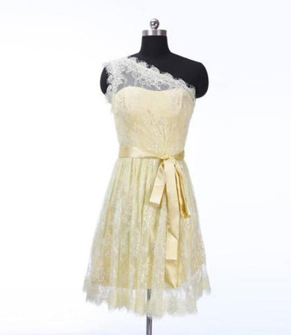 Yellow One Shoulder A Line Bridesmaid Dresses Short Homecoming Dresses,AP454