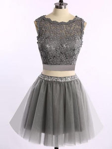 Grey Two Pieces Sleeveless Homecoming Dresses Affordable Cocktail Dresses With Lace,AP459
