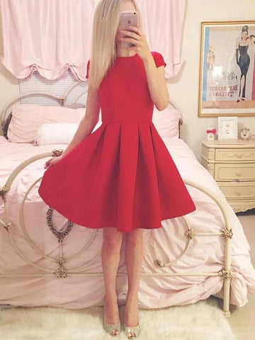 Simple Red Short Sleeves A Line Prom Dresses Short Homecoming Dresses,AP470
