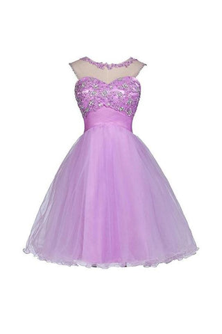 New Orchid Sleeveless Open Back Tulle Prom Dress Homecoming Dresses With Appliques Beaded,AP474