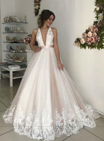 Deep V Neck Sleeveless Backless Wedding Dresses Lace Appliques Bridal Gown,AP485
