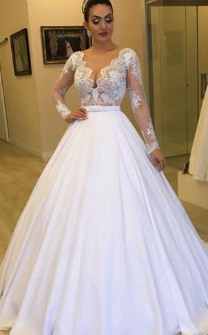 V Neck Long Sleeve Lace A Line Chiffon Wedding Dresses With Detachable Skirt,AP487