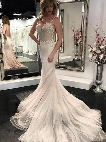 Spaghetti Strap Backless Mermaid Wedding Dresses Sleeveless Bridal Dresses,AP506