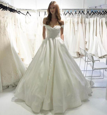White Off Shoulder Sleeveless A Line Satin Wedding Dresses With Ruched,AP513