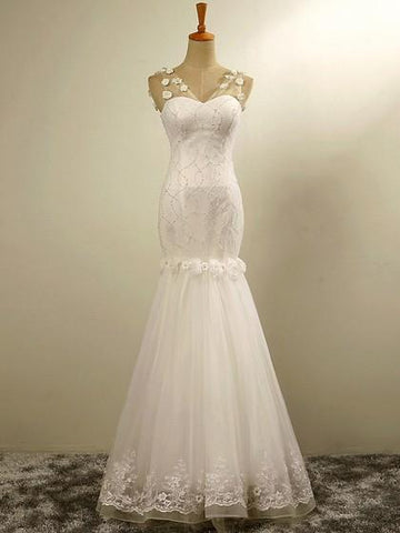 V Neck Sleeveless Lace Appliques Mermaid Wedding Dresses With Beaded,AP517