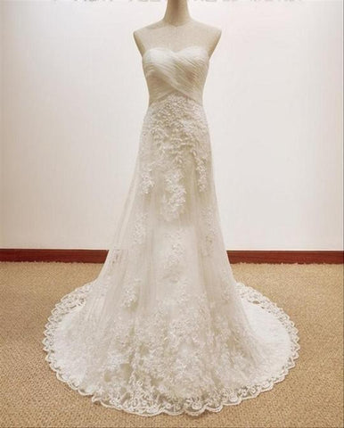 Strapless Sweetheart Lace Appliques Wedding Dresses With Sleeveless,AP520