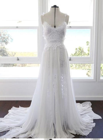 Spaghetti Straps Sleeveless Lace Wedding Dresses Backless Split Bridal Gown,AP523