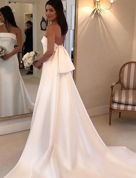 White Strapless Sleeveless Wedding Dresses Long Satin Bridal Dresses,AP531